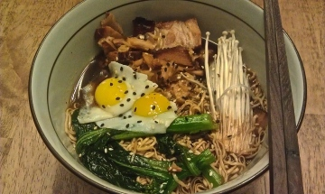 Tonkotsu Ramen; quail eggs, pork belly, enoki mushrooms, yu choy
