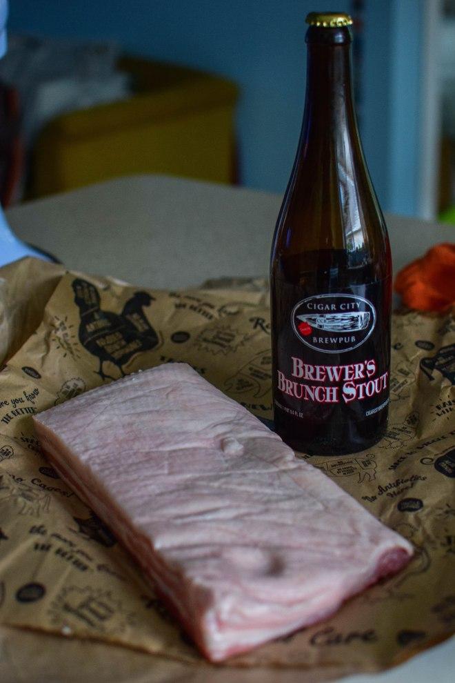 Brewers Brunch marinated pork belly