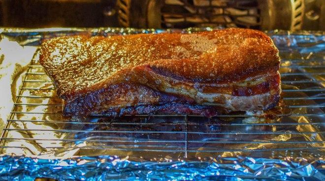 Hickory sea salt roasted pork belly, marinated in Brewers Brunch