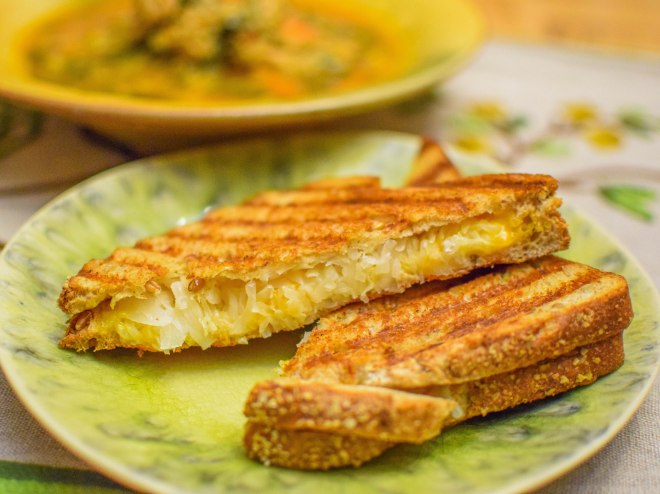 Quinoa, Chicken, and Swiss Chard Soup with Sauerkraut Grilled Cheese-3