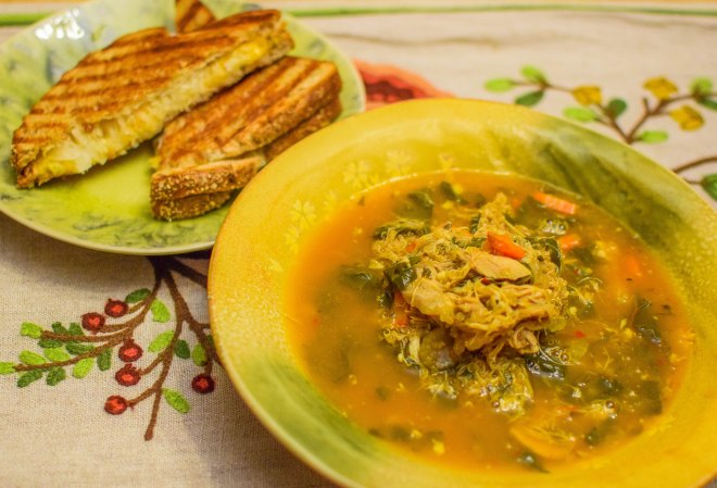 Quinoa, Chicken, and Swiss Chard Soup with Sauerkraut Grilled Cheese
