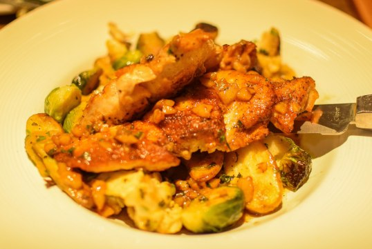 Pan-roasted chicken with seaosnal veggies of cauliflower and brussels sprouts
